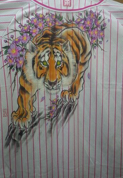 阪神タイガース 手描きユニフォーム 虎と桜