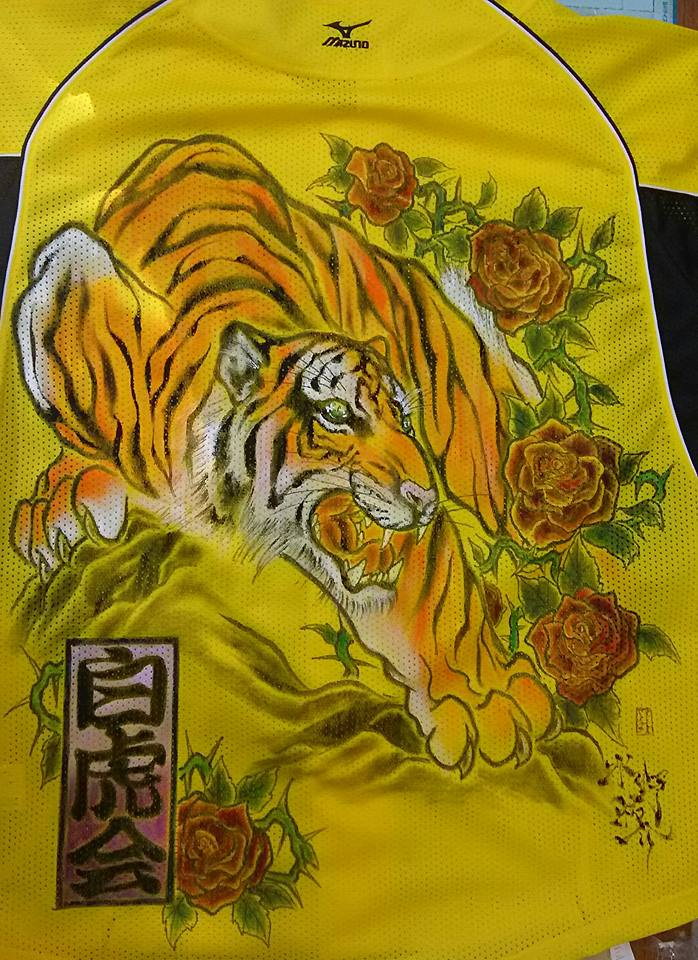 阪神タイガース 手描きユニフォーム 虎と薔薇