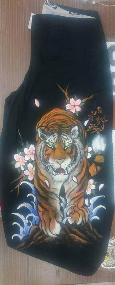 手描きニッカボッカ 虎と桜