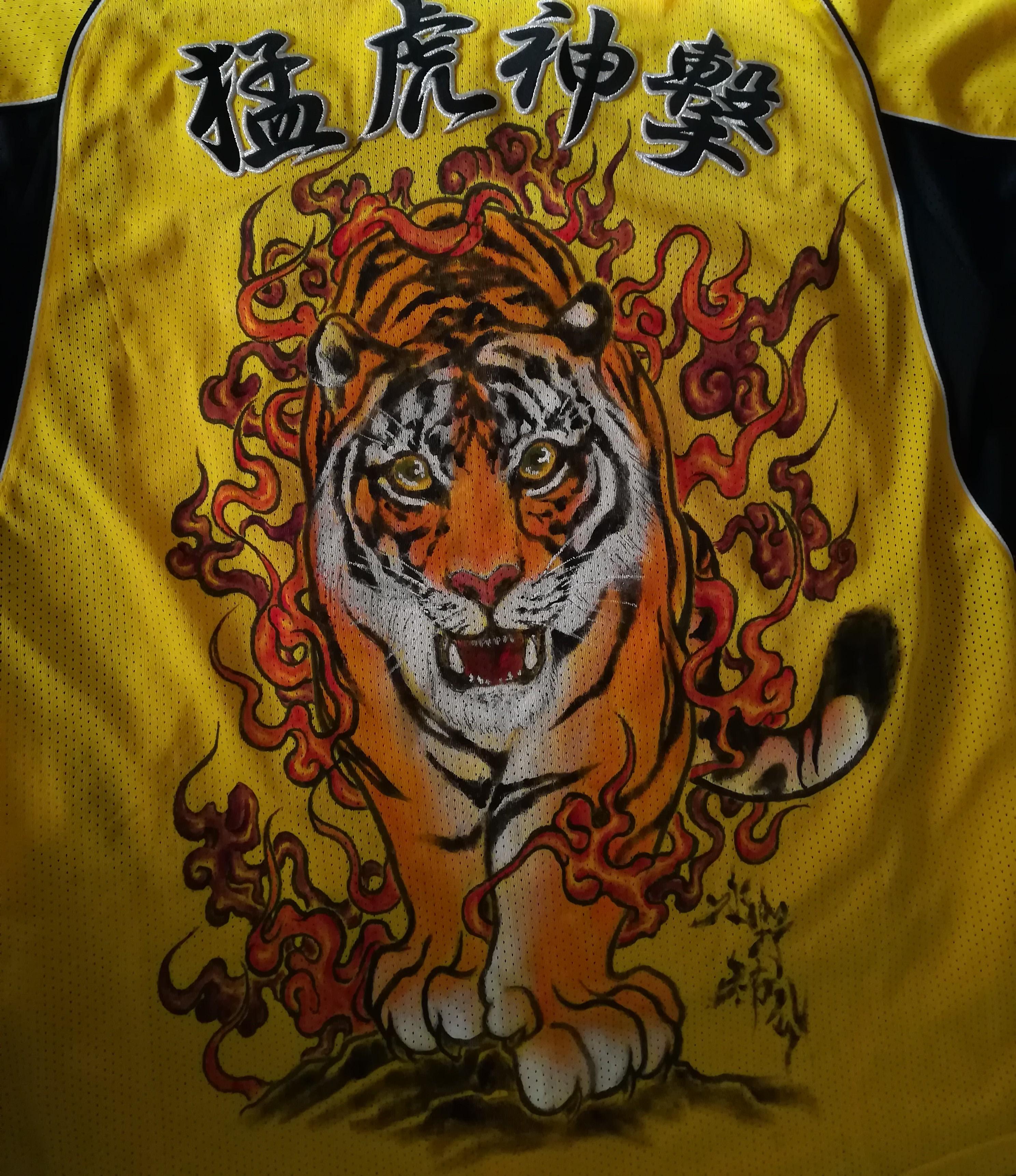 阪神タイガース 手描きユニフォーム 虎と炎